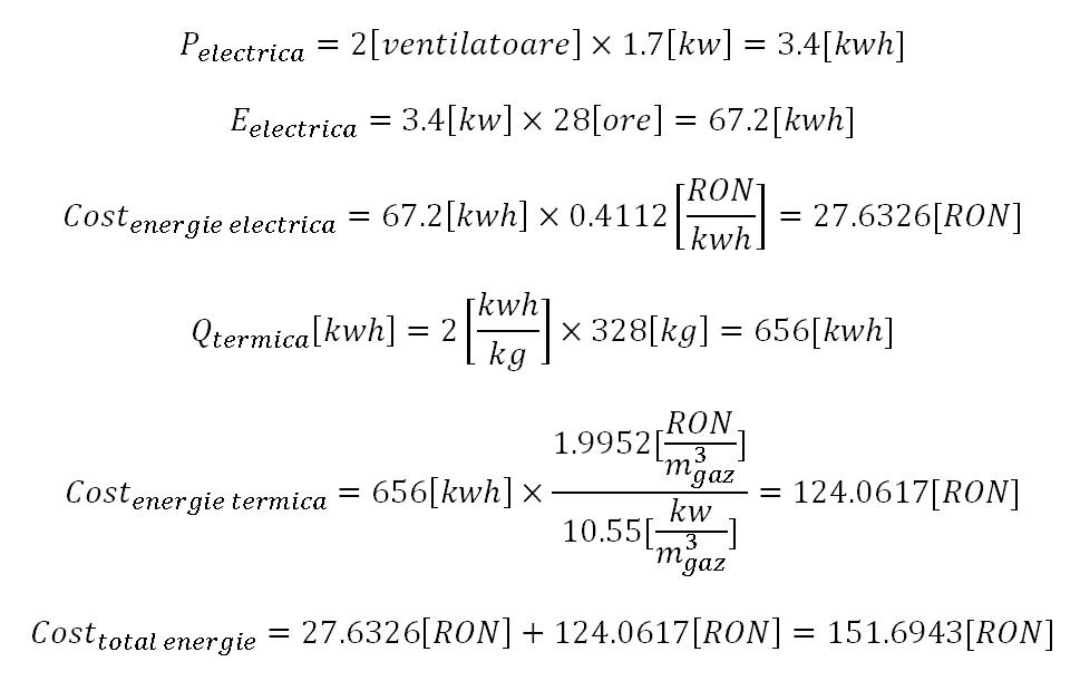 Exemplu de calcul al costului cu energia la uscarea prunelor
